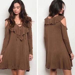 NWOT Cherish Ruffle lace up Dress